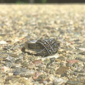 Sterling Silver Infinity Ring With Marcasite Inlay